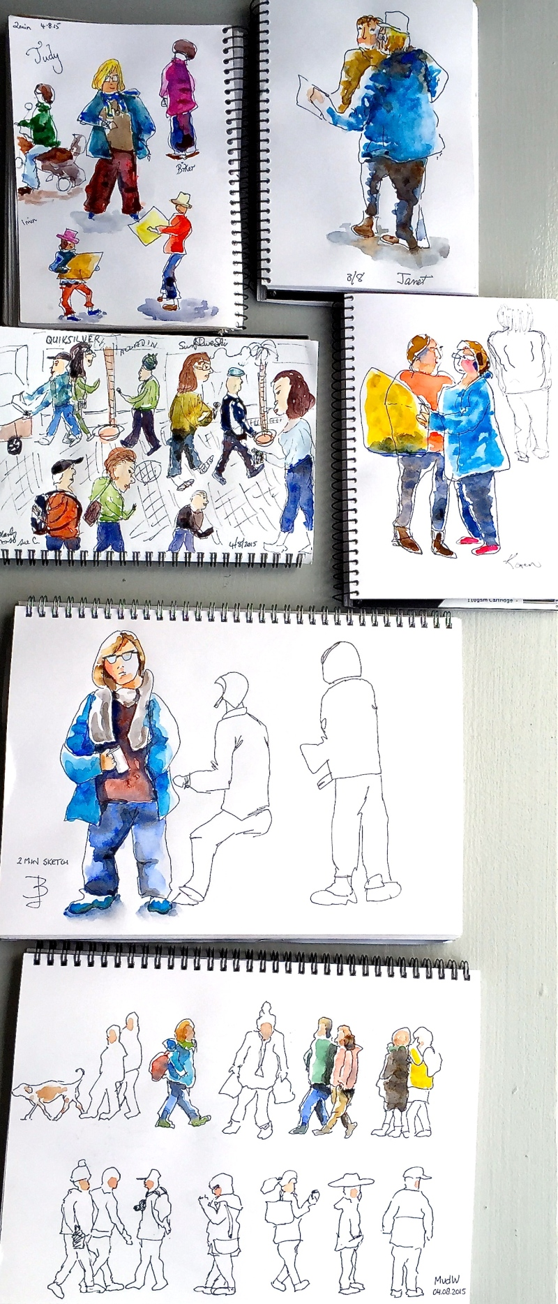 Tuesday. Figures & watercolour