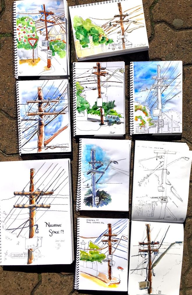 Tuesday. Telephone poles