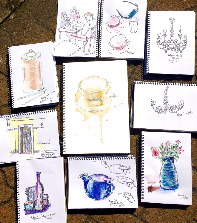 Wednesday. Sketching at Belgrave Cartel
