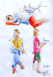 Demo. 20 sec people and first watercolour applied