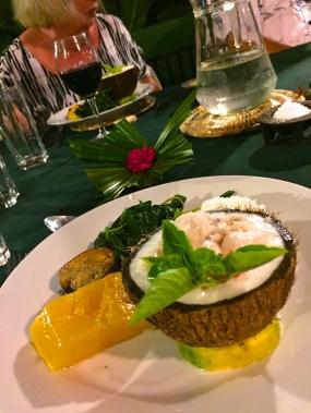 Friday Fiji. Dinner with Traditonal fish in coconut