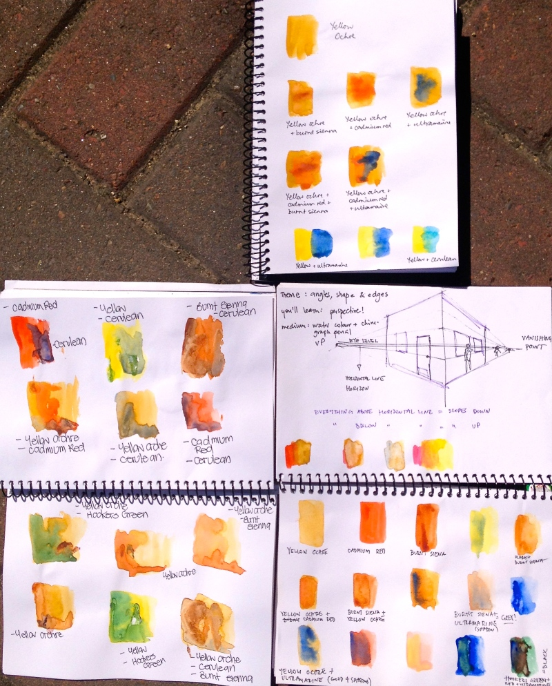 Monday. Watercolour samples