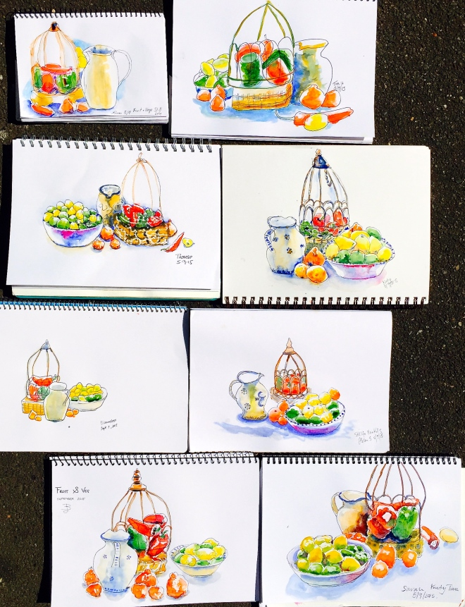 Saturday. Bright colours in sketching