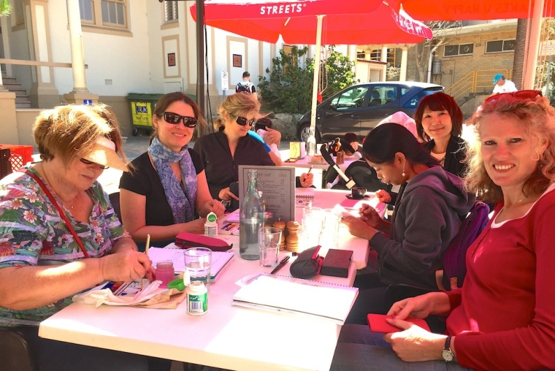 Saturday. Completing sketches at Manly Cove Cafe