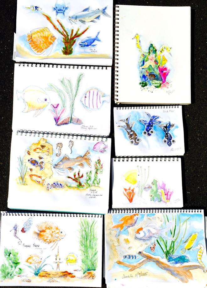 Saturday. Tropical fish sketches