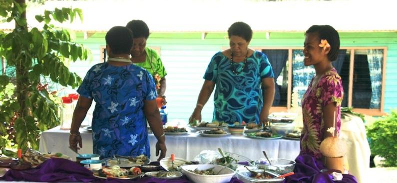 Thursday Fiji. Fijian lunch for the visitors