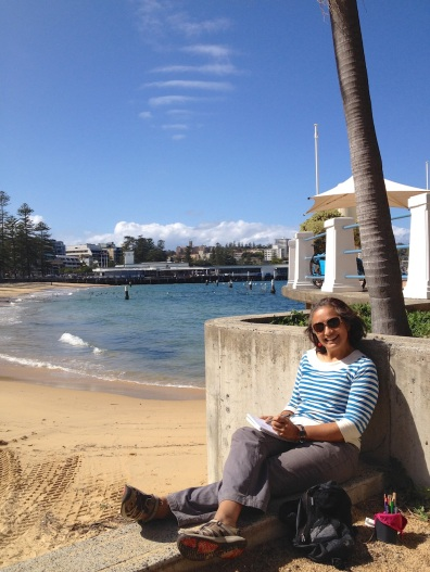 Thursday. Happy sketcher at Manly