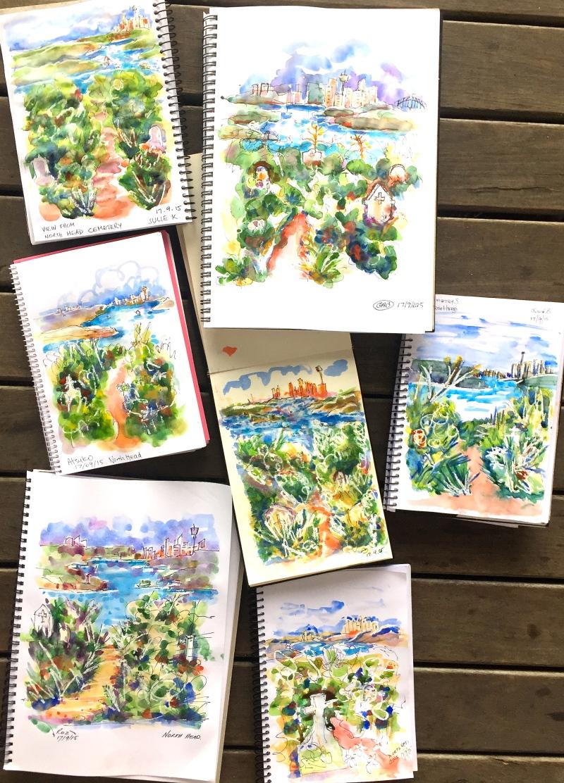 Thursday. Harbour and bush composition