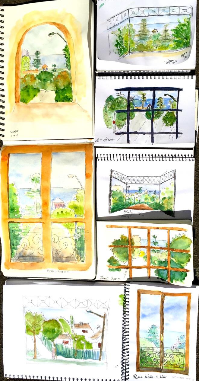 Tuesday. Through a window sketches