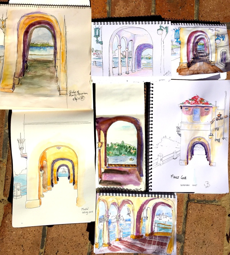 Tuesday. Through an archway sketches