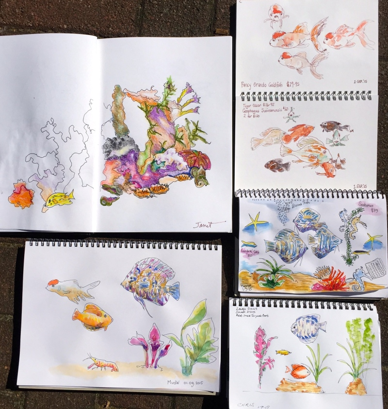 Tuesday. Tropical fish sketches