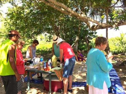 Wednesday Fiji. Lunch under the trees Devodora Bch