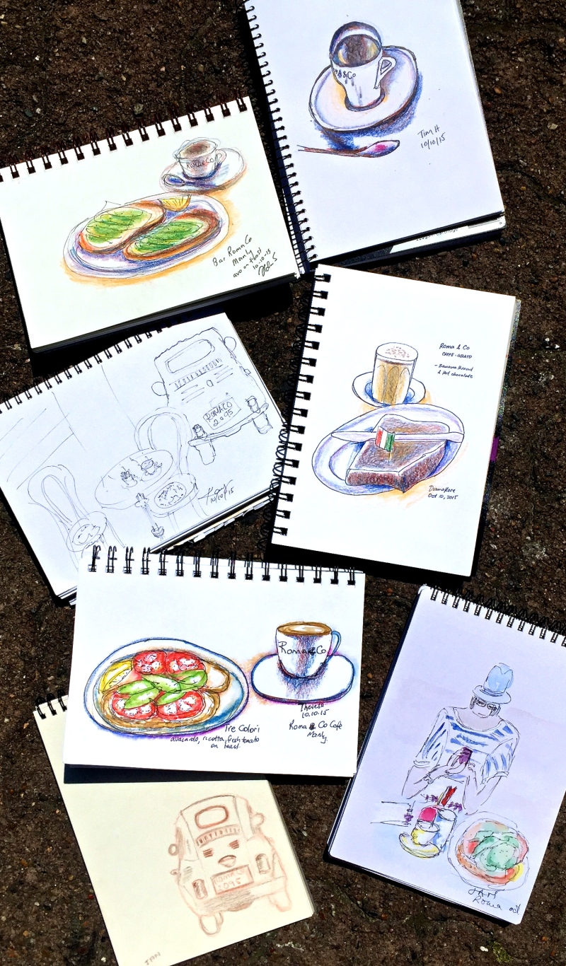 Sat Gen. Cafe Roma & Co sketches