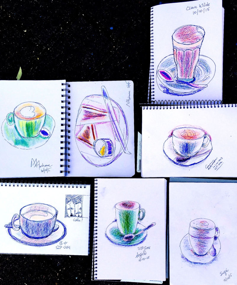 Sat New. Coffe and food sketching