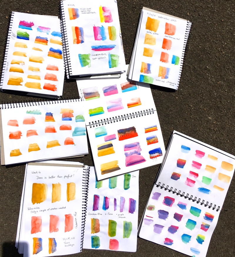 Sat New. Watercolour swatches