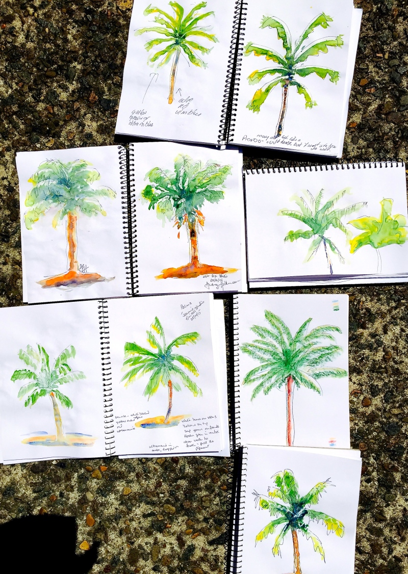 Wed New. Watercolour palm trees