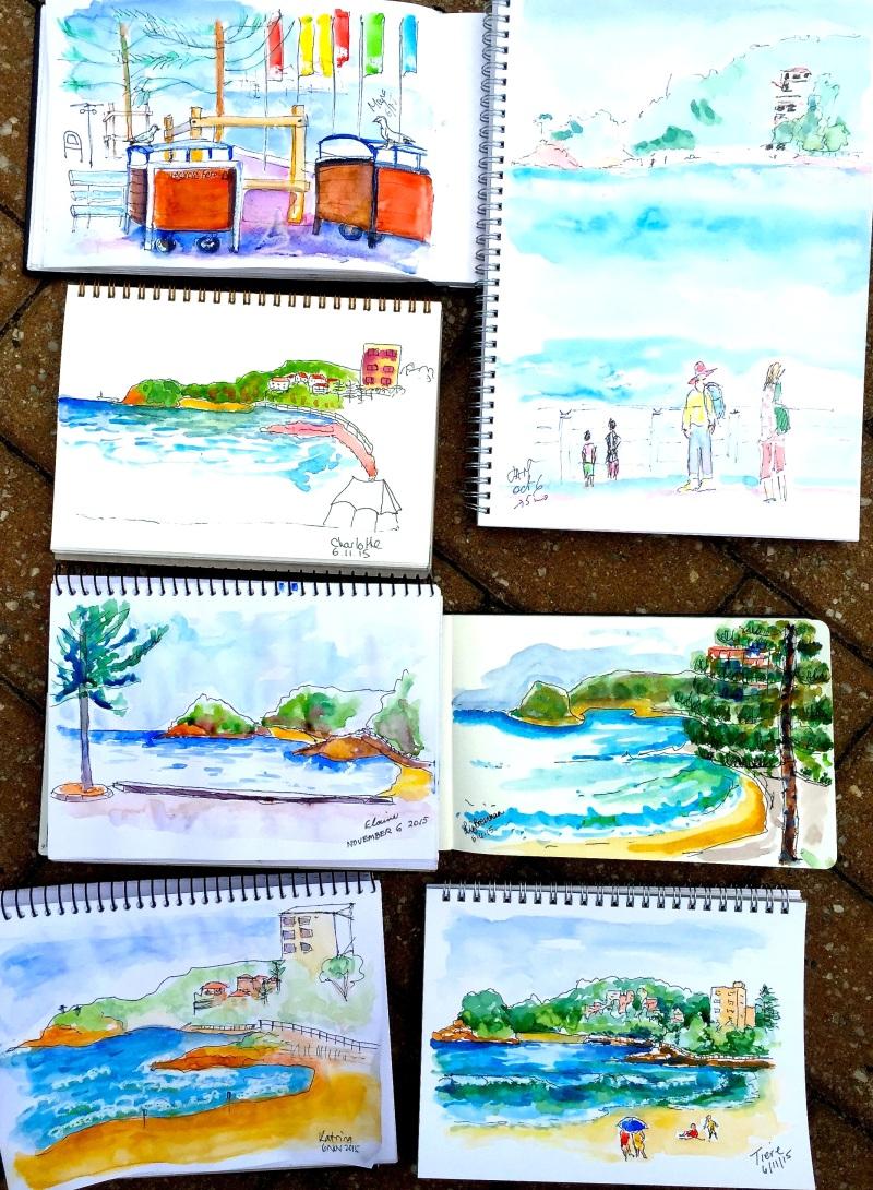 Fri Gen. Manly Beach & surf sketches