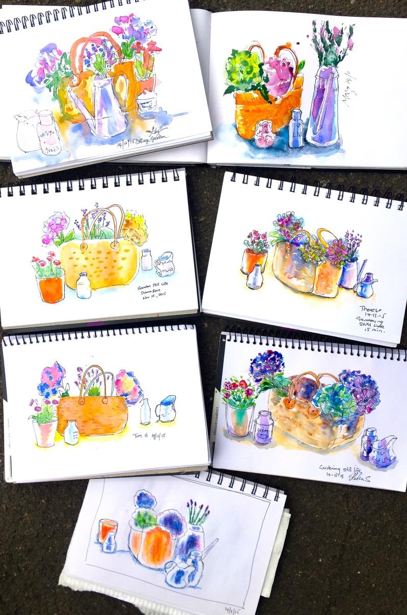 Sat Gen. Flower sketches 1.