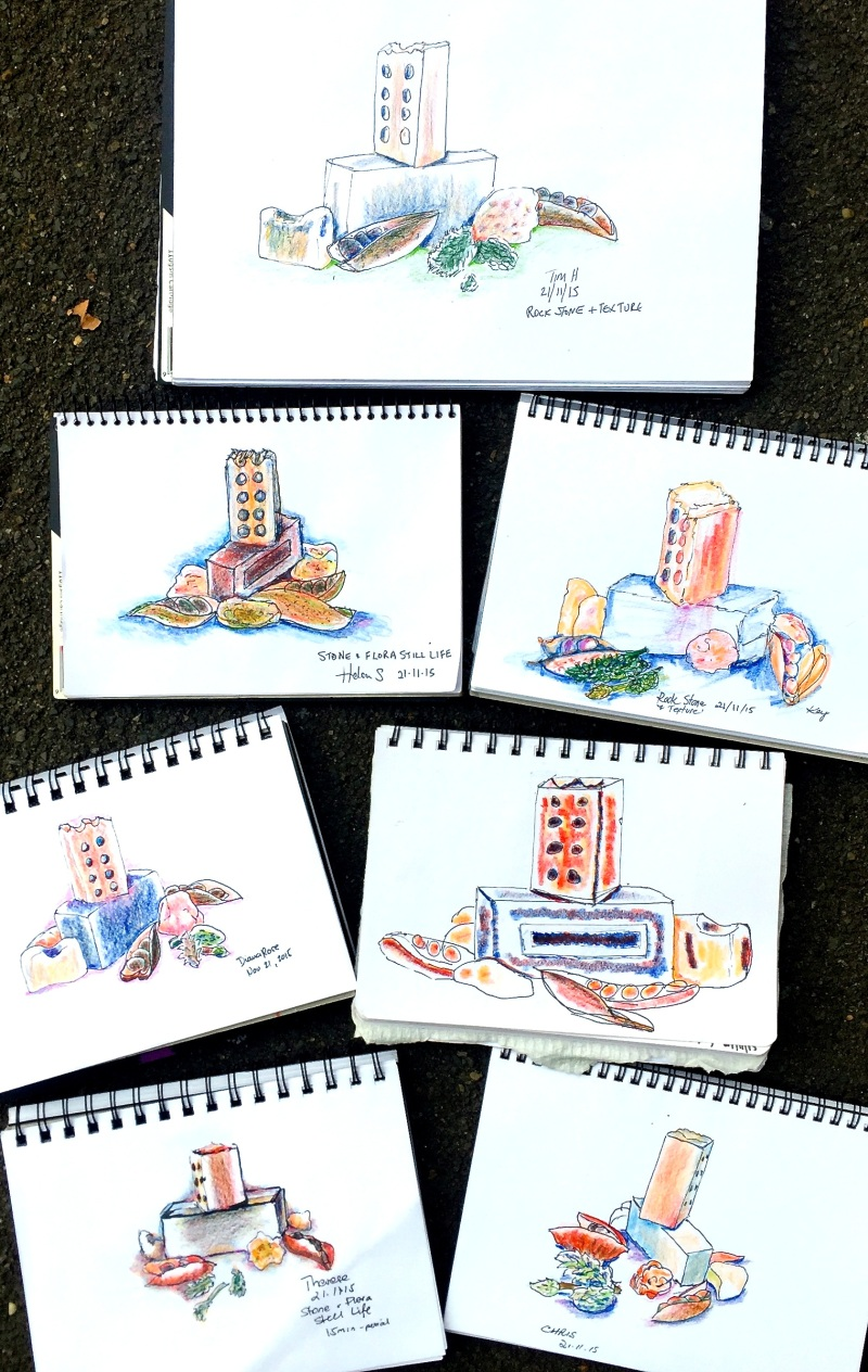 SatGen. W'colour pencil sketches