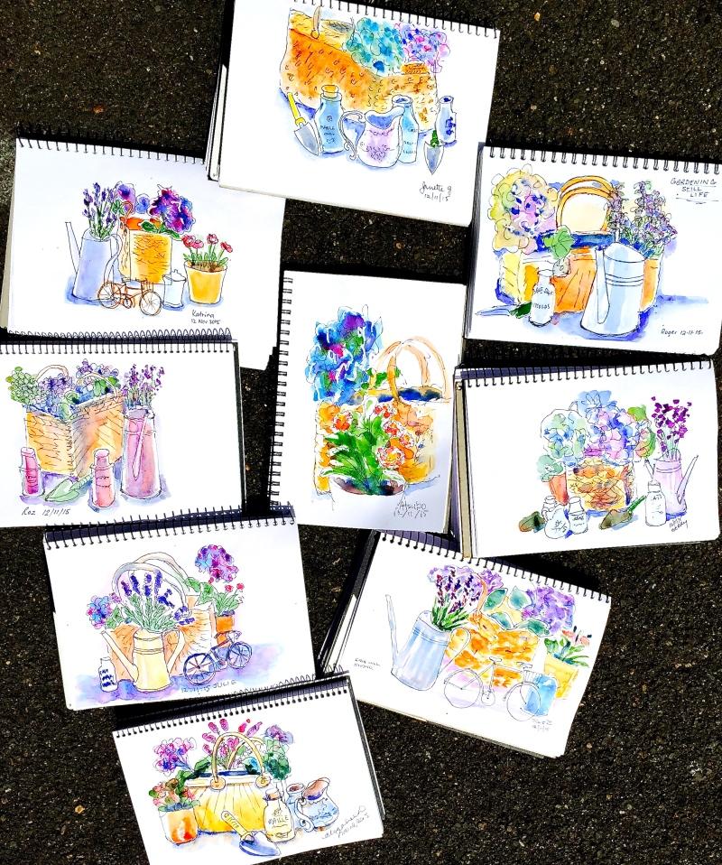 Thur Gen. Cottage flower sketches