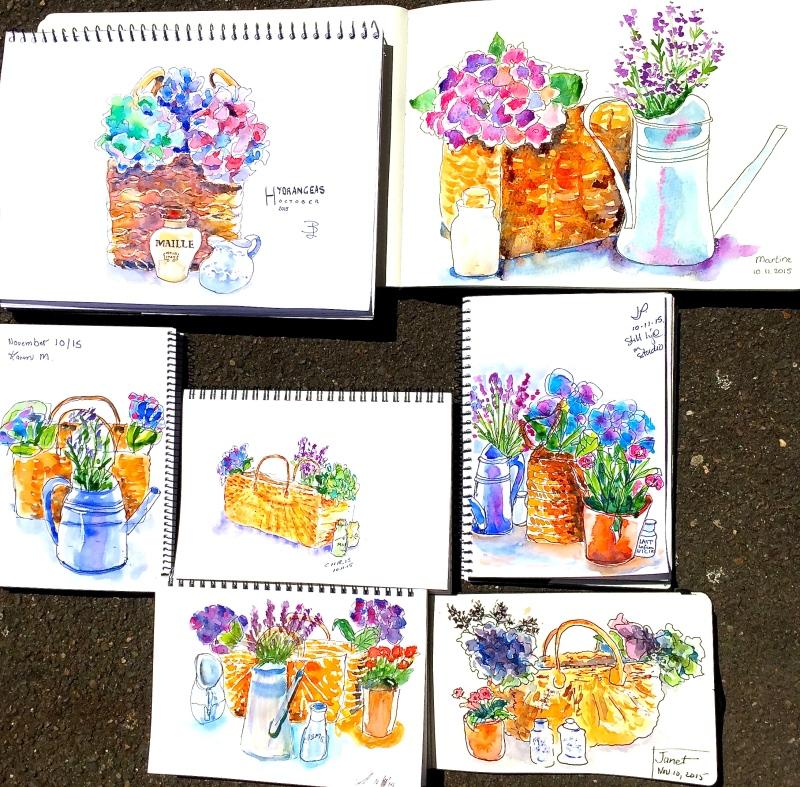 Tues Gen. Cottge flowers sketches