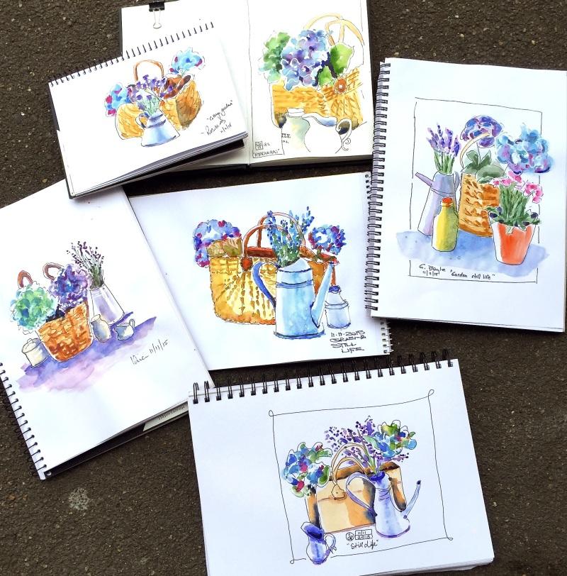 Wed Gen. Cottage flower sketches
