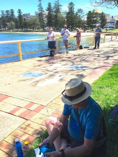 Wed Gen sketching on the boardwalk