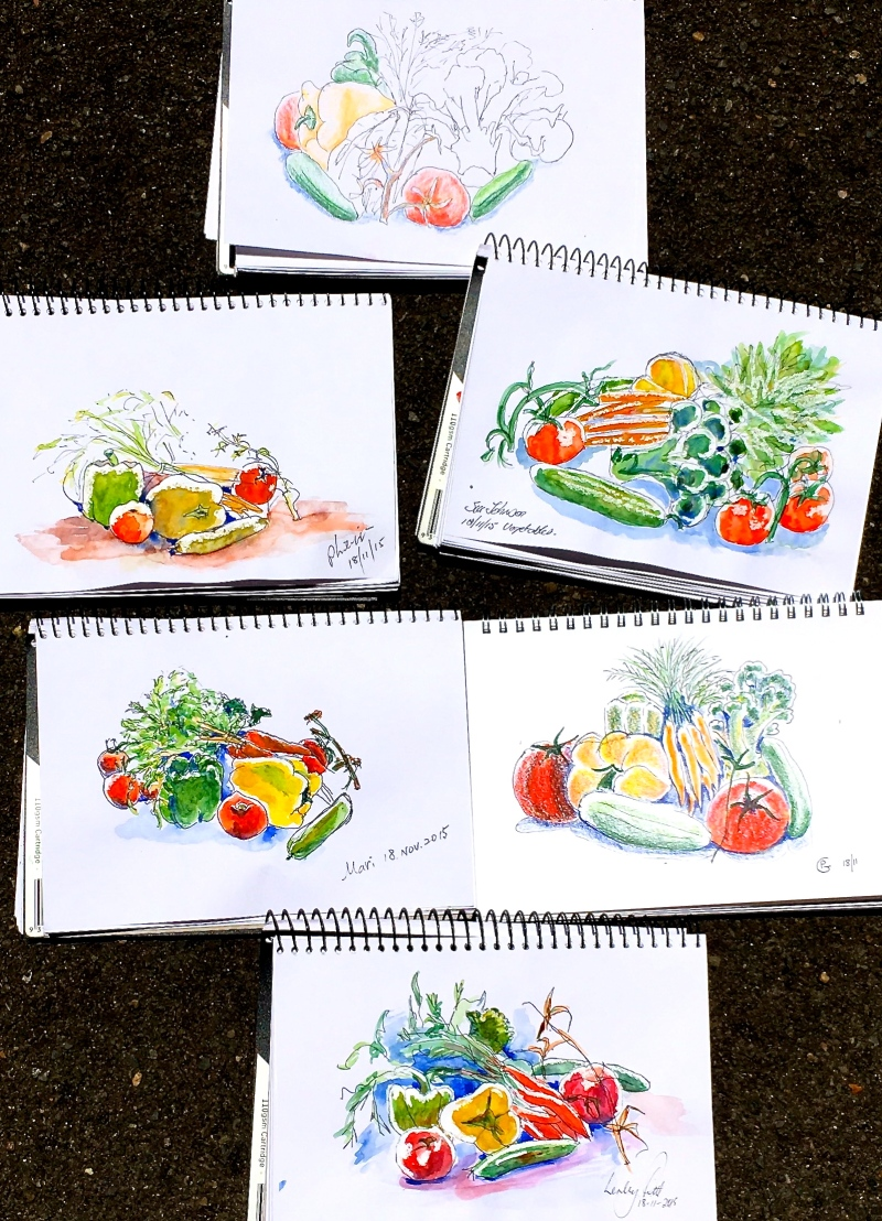 Wed New. Vegetable sketches